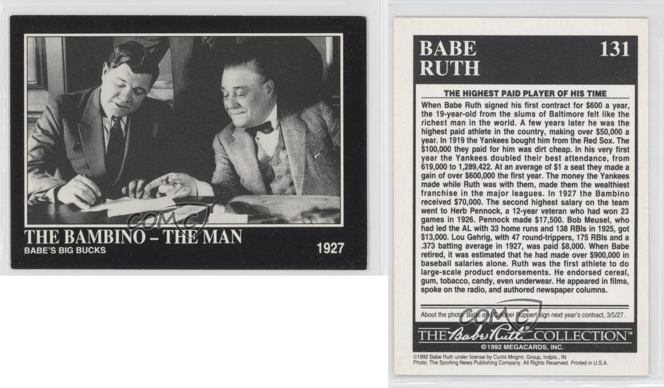 1992 Megacards The Collection 131 Babe Ruth New York -4138