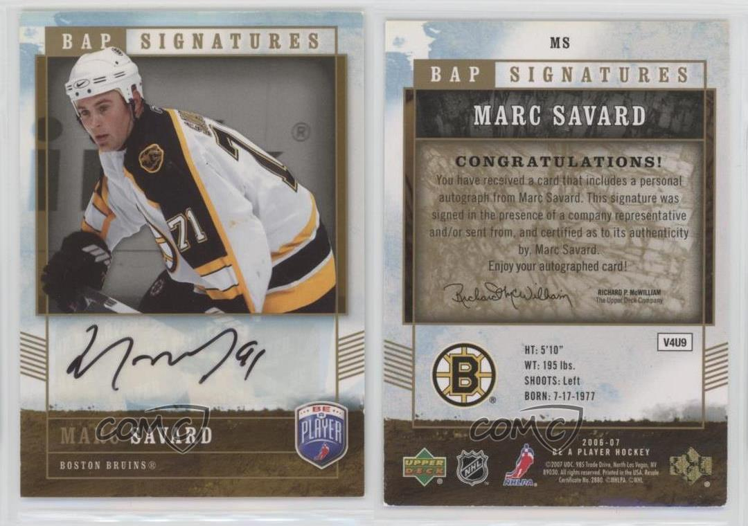2006-07-Upper-Deck-Be-a-Player-Signatures-Autographed-MS-Marc-Savard-Auto-Card
