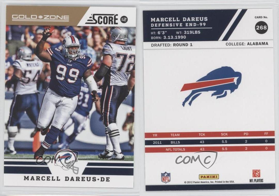 2012-Score-Gold-Zone-268-Marcell-Dareus-Buffalo-Bills-Football-Card