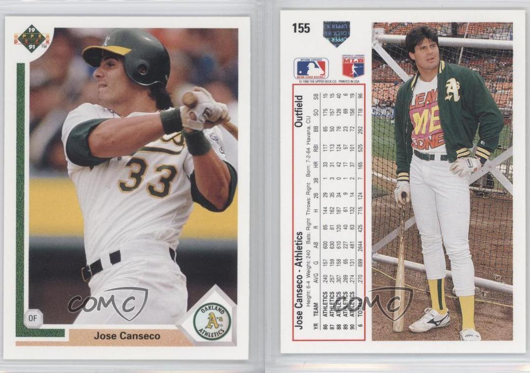 1991 Upper Deck Oakland Athletics Baseball Card 155 Jose Canseco