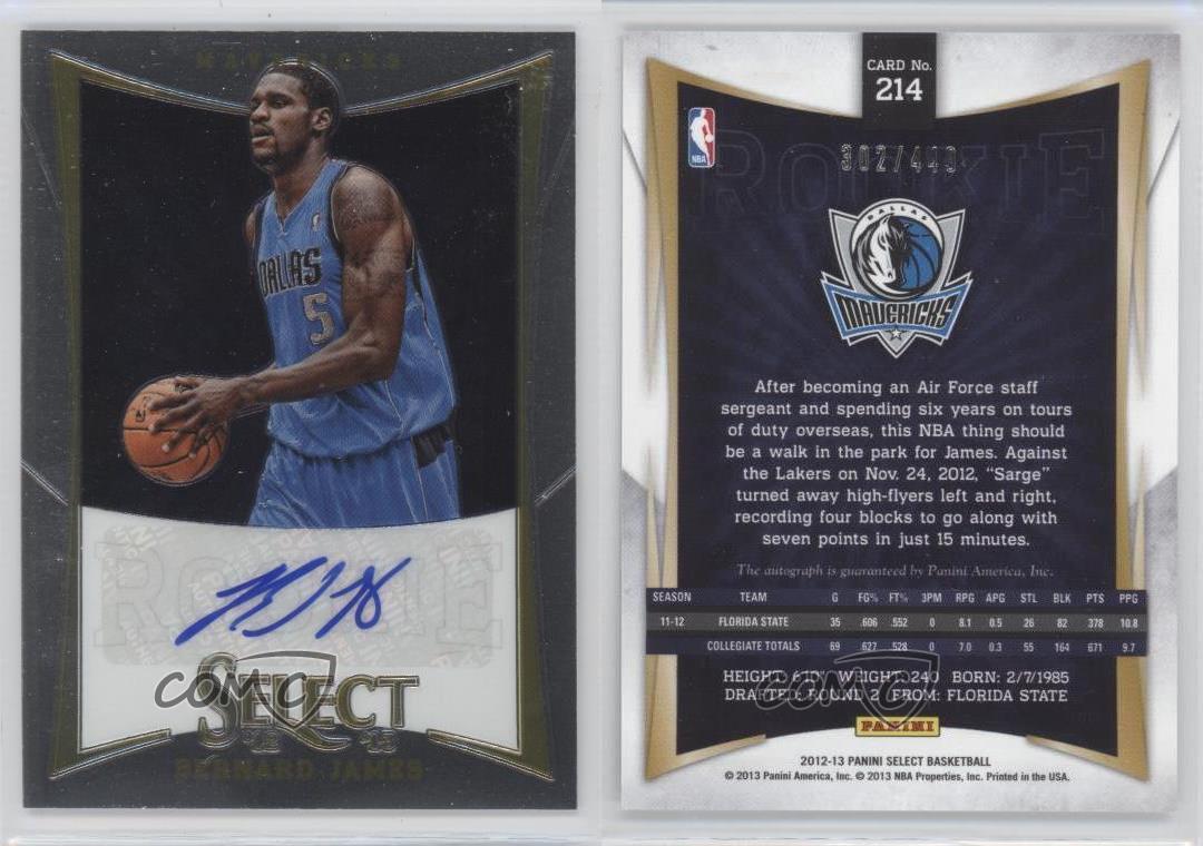 2012-13-Panini-Select-214-Bernard-James-Dallas-Mavericks-Auto-RC-Basketball-Card