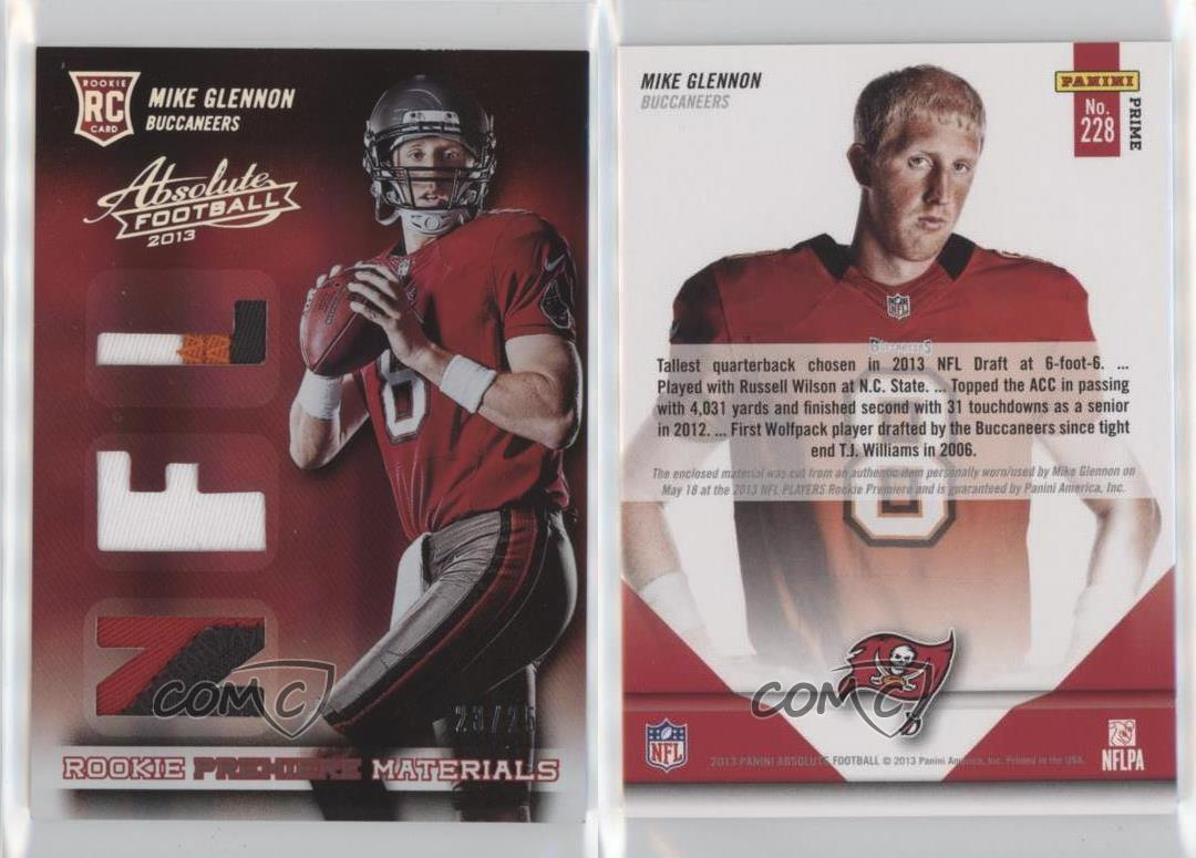 2013-Panini-Absolute-Rookie-Premiere-Materials-NFL-Prime-228-Mike-Glennon-Card