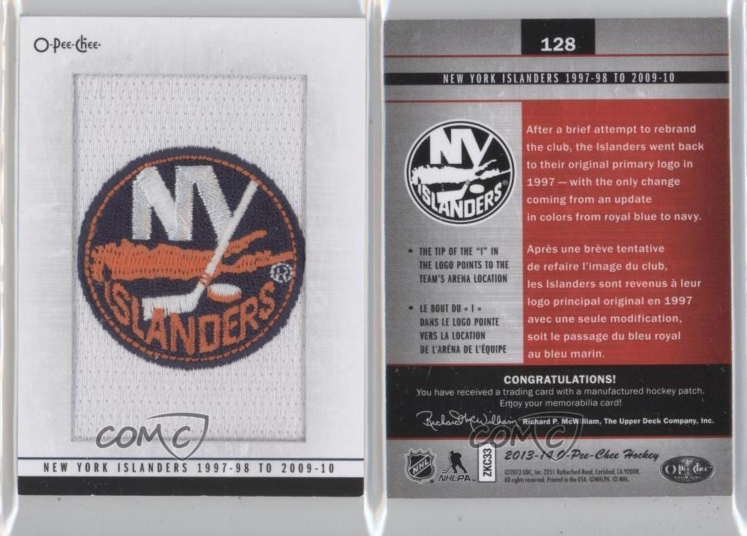 2013 o pee chee team logo patches 128 new york islanders 1997 98 to 2009 10 card ebay. Black Bedroom Furniture Sets. Home Design Ideas