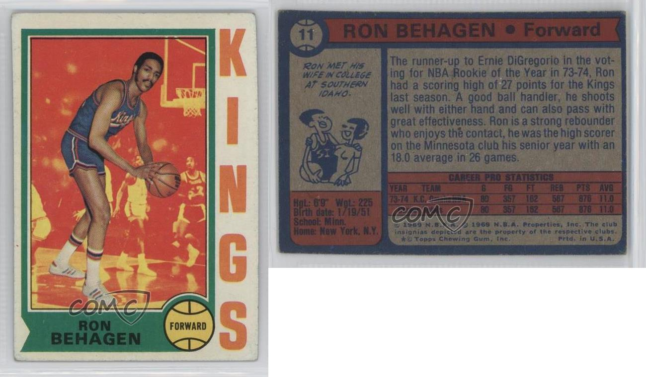 1974 75 Topps 11 Ron Behagen Sacramento Kings RC Rookie