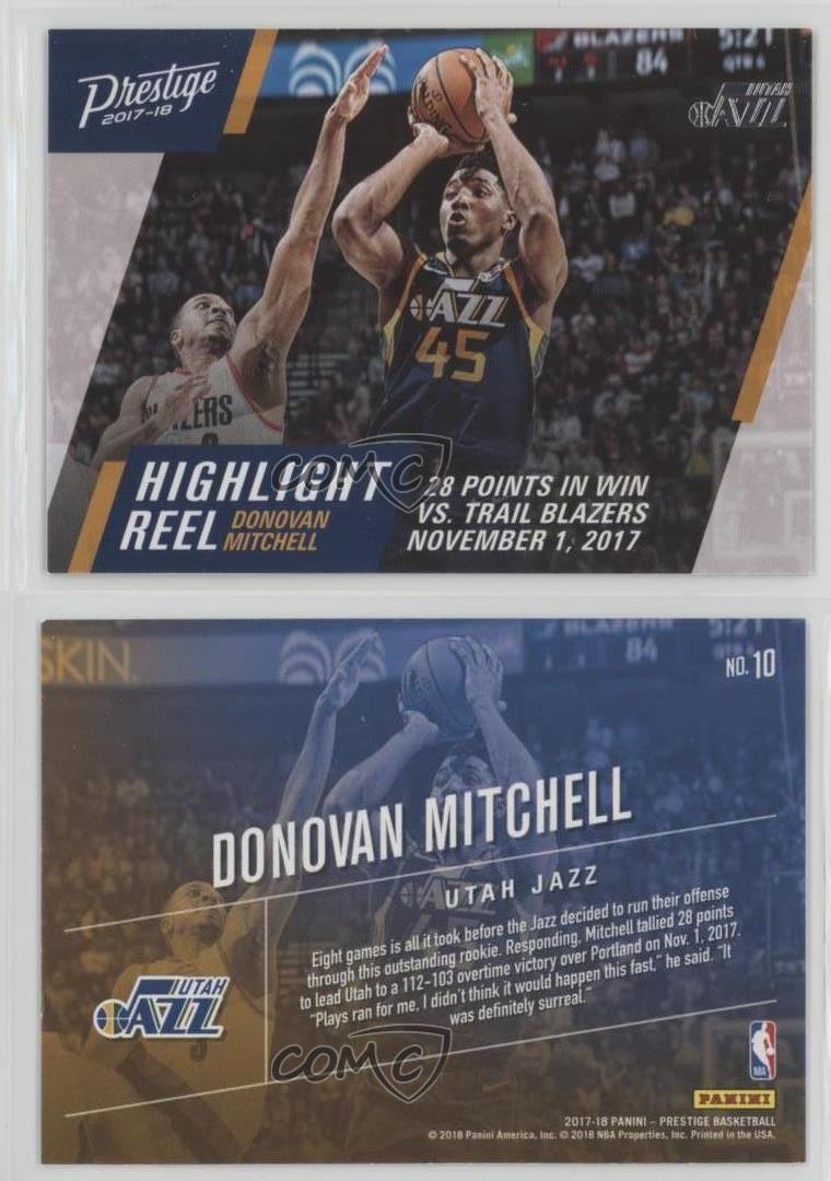 2017-18-Panini-Prestige-Highlight-Reel-10-Donovan-Mitchell-Utah-Jazz-Rookie-Card