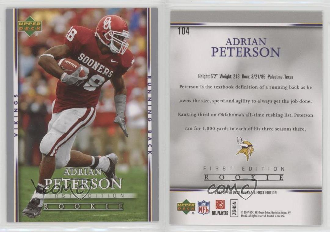 Details About 2007 Upper Deck First Edition 104 Adrian Peterson Minnesota Vikings Rookie Card