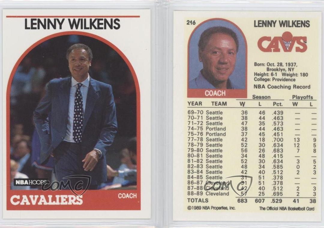 1989 90 NBA Hoops 216 Lenny Wilkens Cleveland Cavaliers