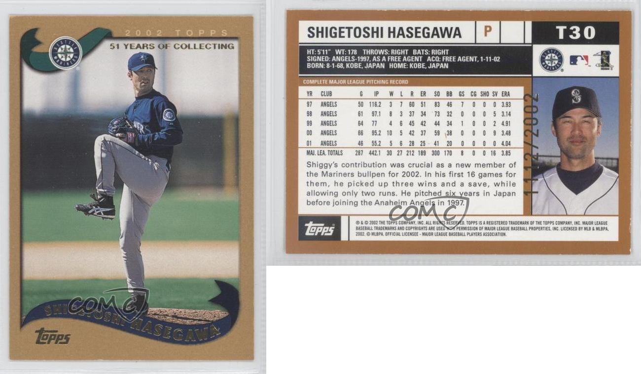 2002 Topps Traded Gold T30 Shigetoshi Hasegawa Seattle