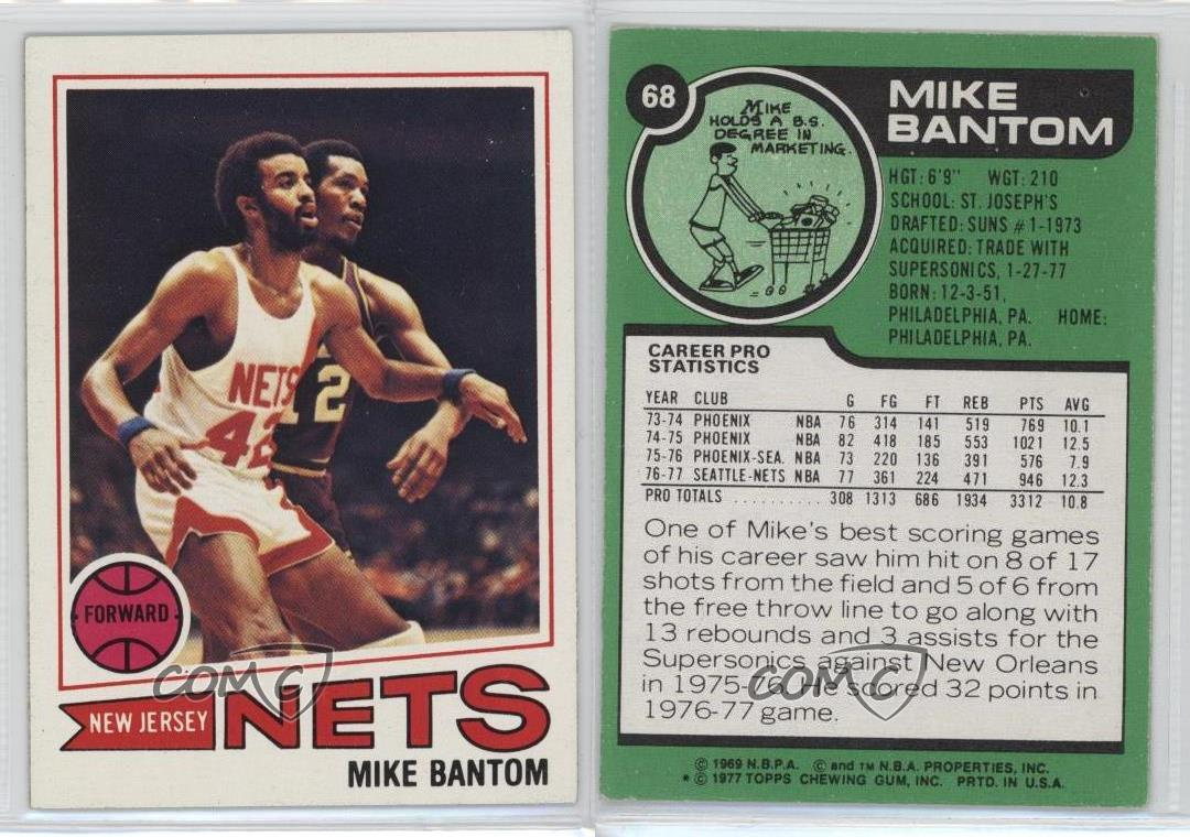 1977 78 Topps White Back 68 Mike Bantom New Jersey Nets