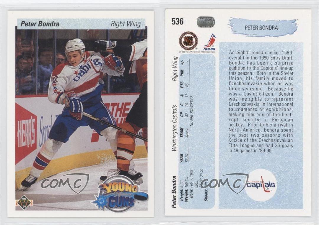 1990-91-Upper-Deck-536-Peter-Bondra-Washington-Capitals-RC-Rookie-Hockey-Card