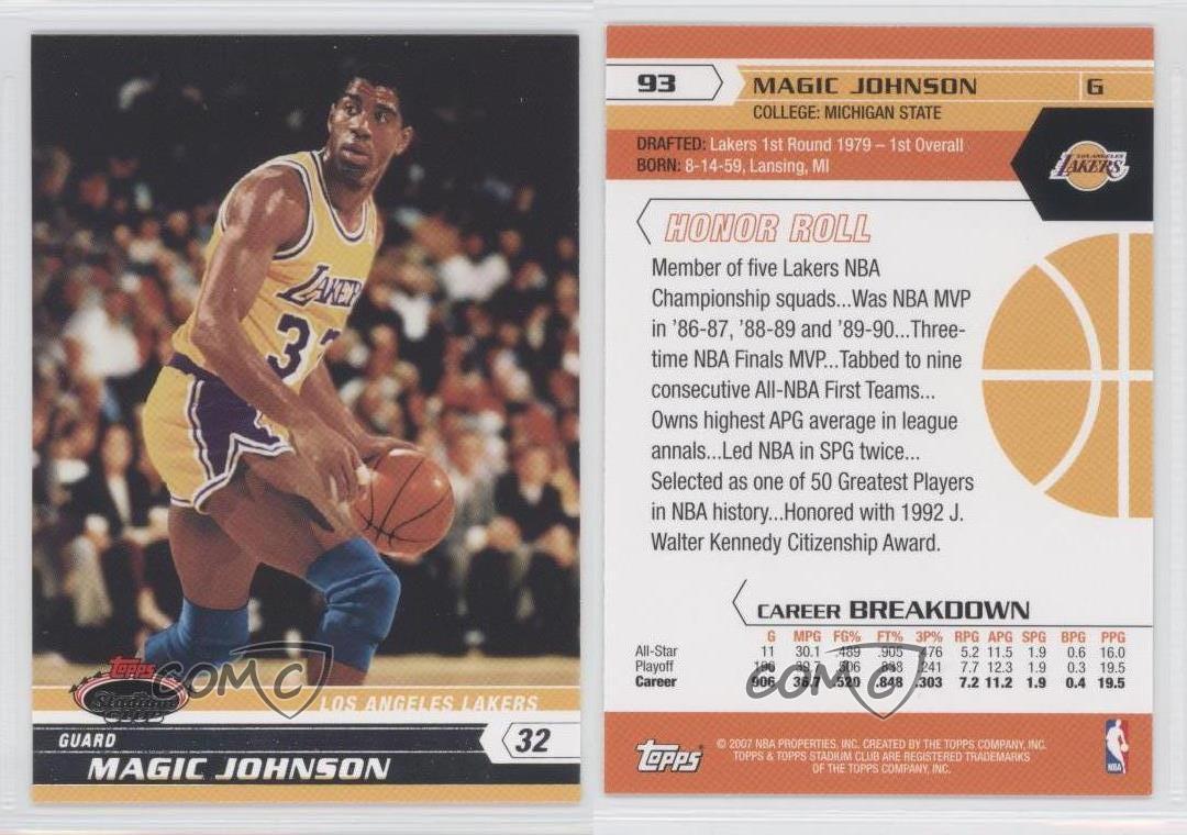 2007-08 Topps Magic Johnson #93 Basketball Card | eBay