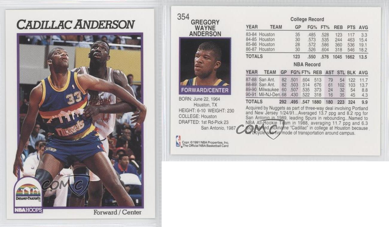 1991 92 nba hoops cadillac anderson 354 rookie ebay ebay