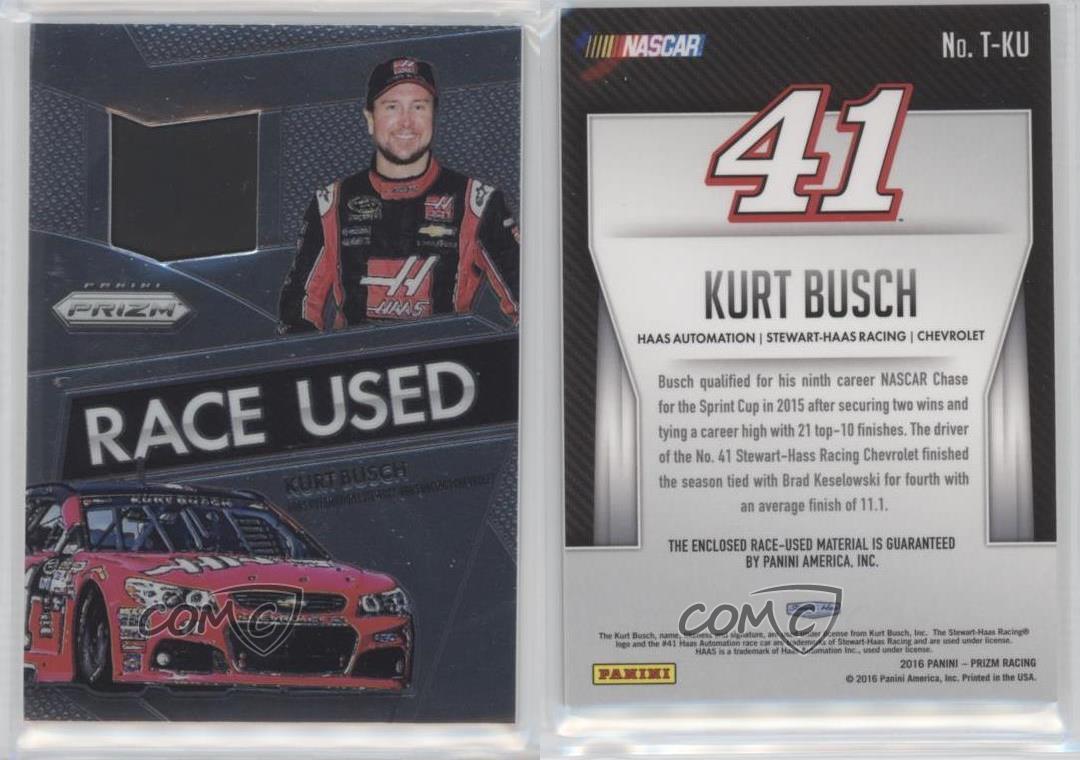 2016 Panini Prizm NASCAR Race-Used Tire #T-KU Kurt Busch Racing ...