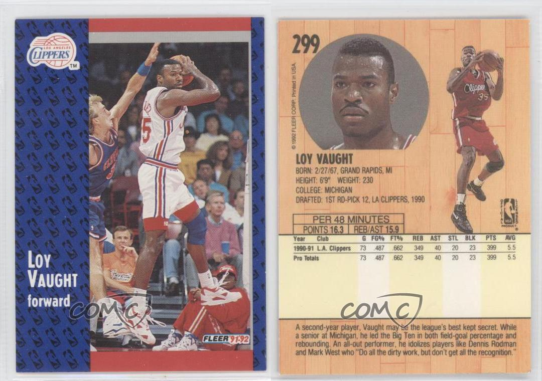 1991 92 Fleer 299 Loy Vaught Los Angeles Clippers RC Rookie