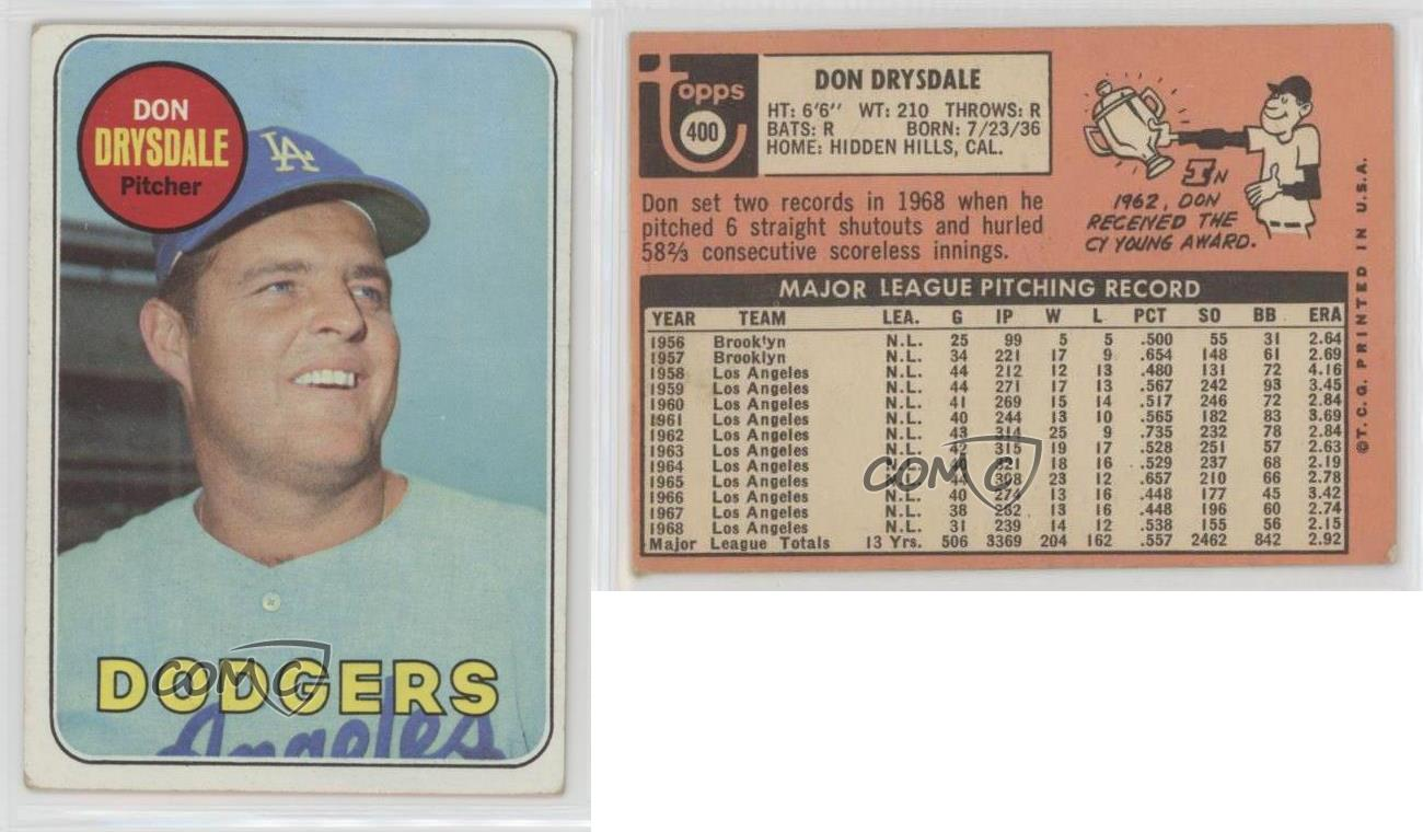 1969-Topps-400-Don-Drysdale-Los-Angeles-Dodgers-Baseball-Card