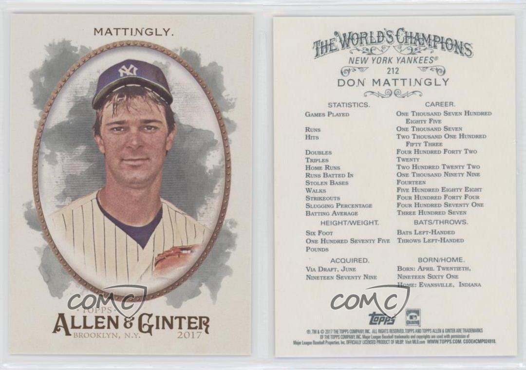 2017 Topps Allen /& Ginter/'s Hot Box Foil #212 Don Mattingly New York Yankees