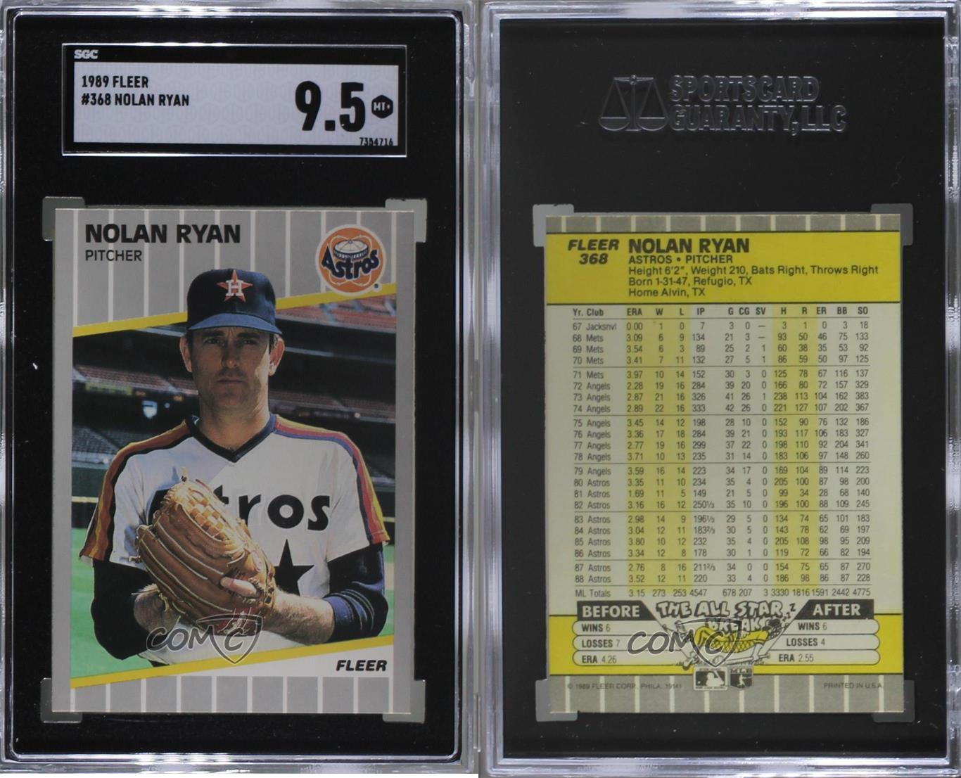 1989 Fleer # 368 Nolan Ryan Houston Astros Baseball Card