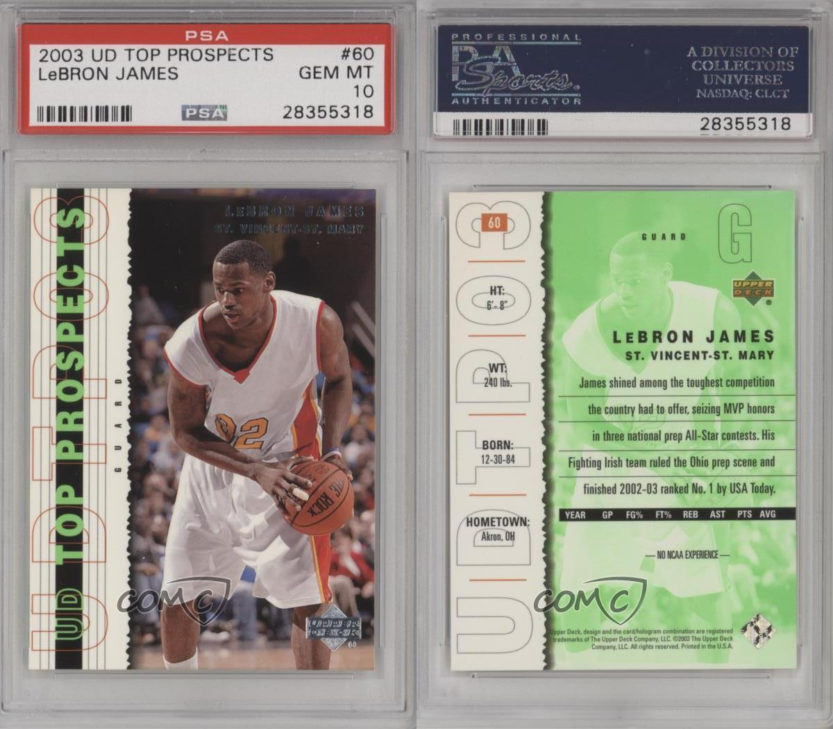 2003 Upper Deck UD Top Prospects #60 Lebron James PSA 10