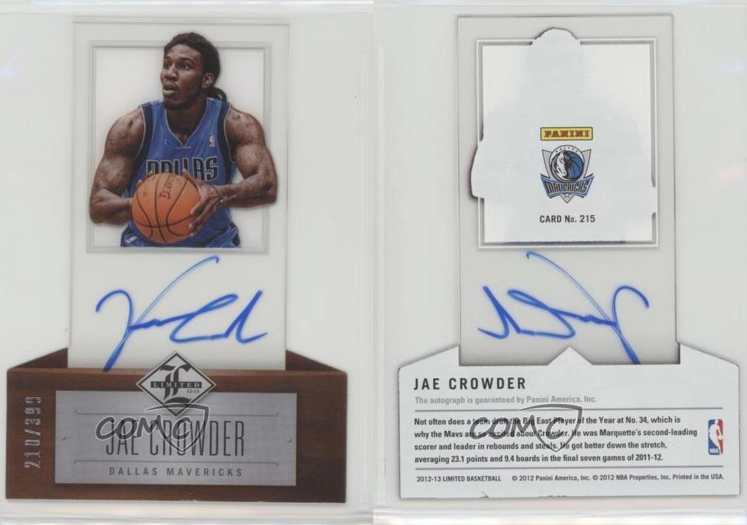 2012-Limited-215-Jae-Crowder-Dallas-Mavericks-Auto-Autographed-Basketball-Card