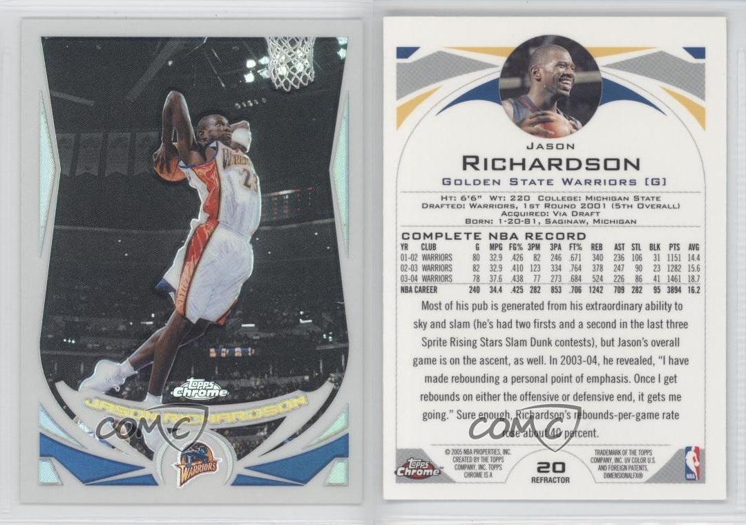 2004-05-Topps-Chrome-Refractor-20-Jason-Richardson-Golden-State-Warriors-Card