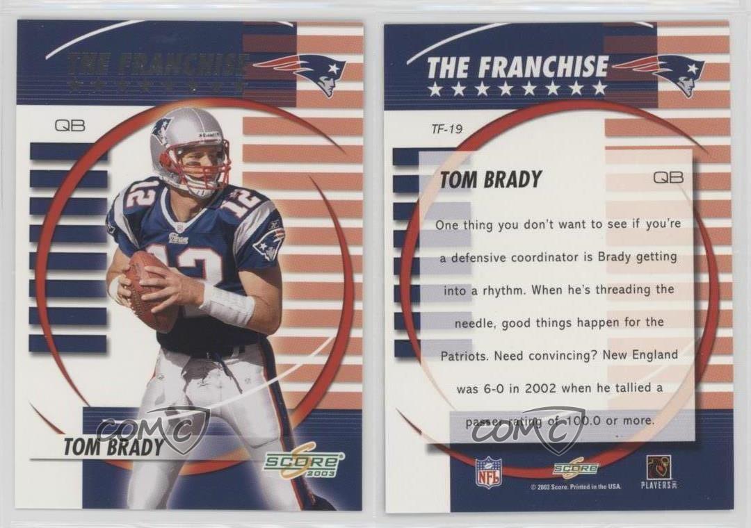 2003-Score-The-Franchise-TF-19-Tom-Brady-New-England-Patriots-Football-Card