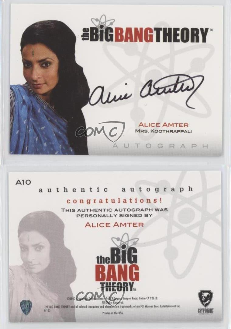 2012 The Big Bang Theory Seasons 1 2 Alice Amter Mrs Koothrappali As Auto Ux6 Ebay Alice amter (born 11 may 1966 in birmingham) is an english actress, best known for her character mrs. ebay