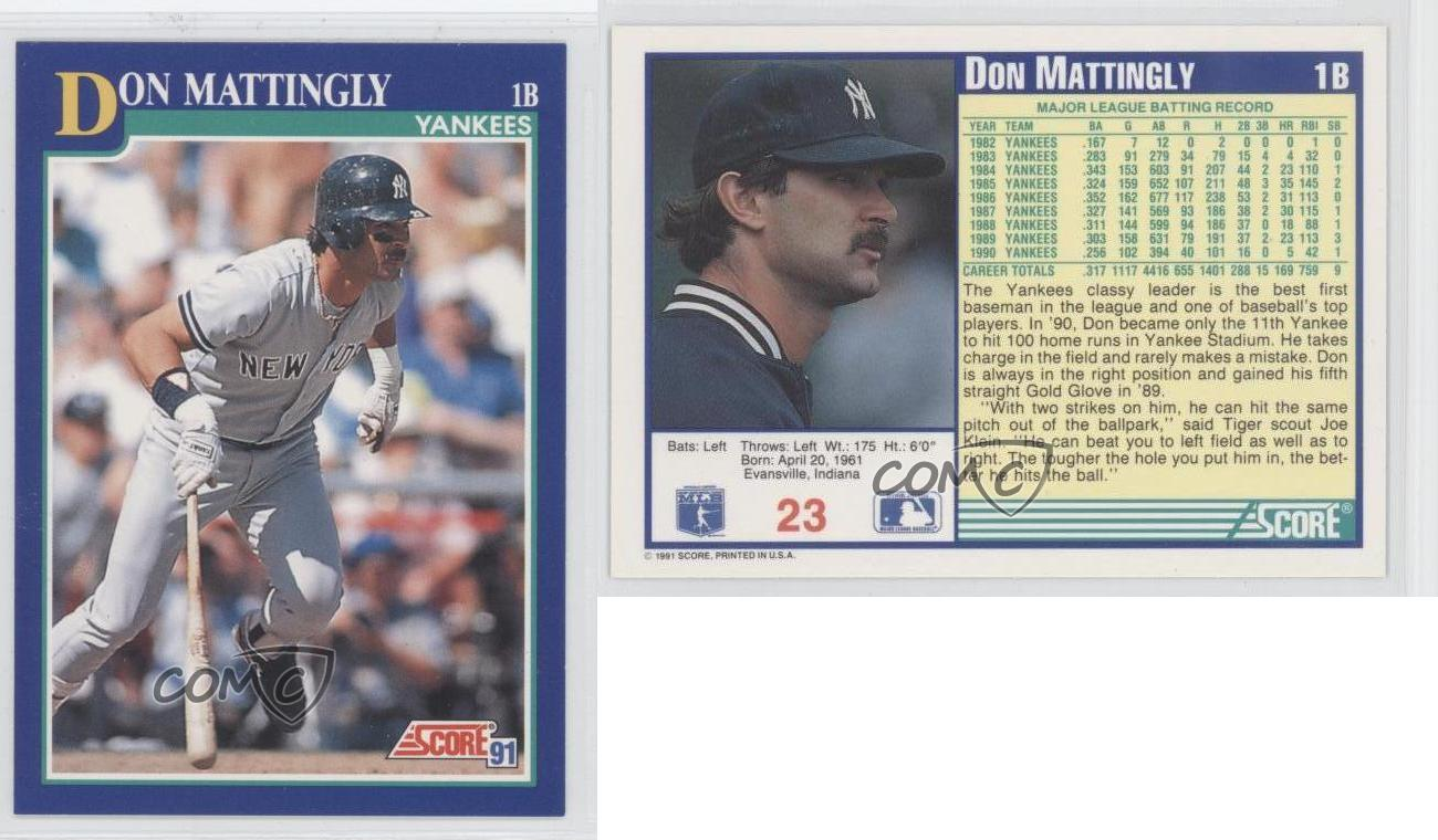 1991 Score 23 Don Mattingly New York Yankees Baseball