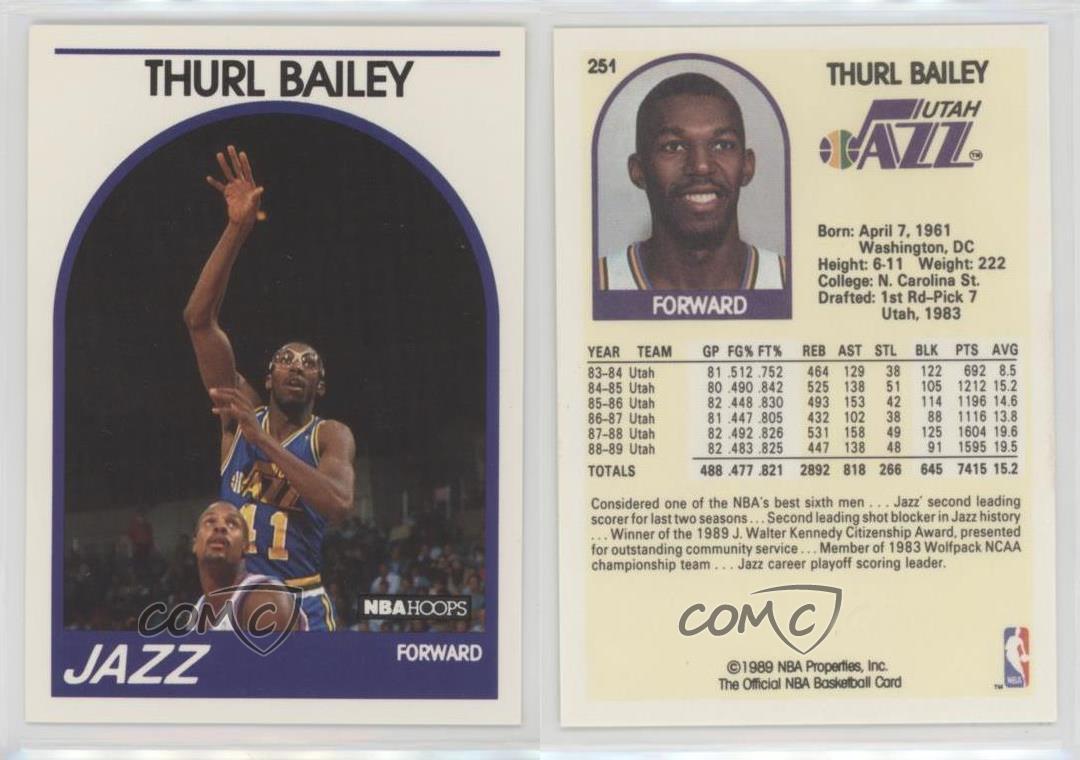 1989 90 NBA Hoops 251 Thurl Bailey Utah Jazz Basketball Card