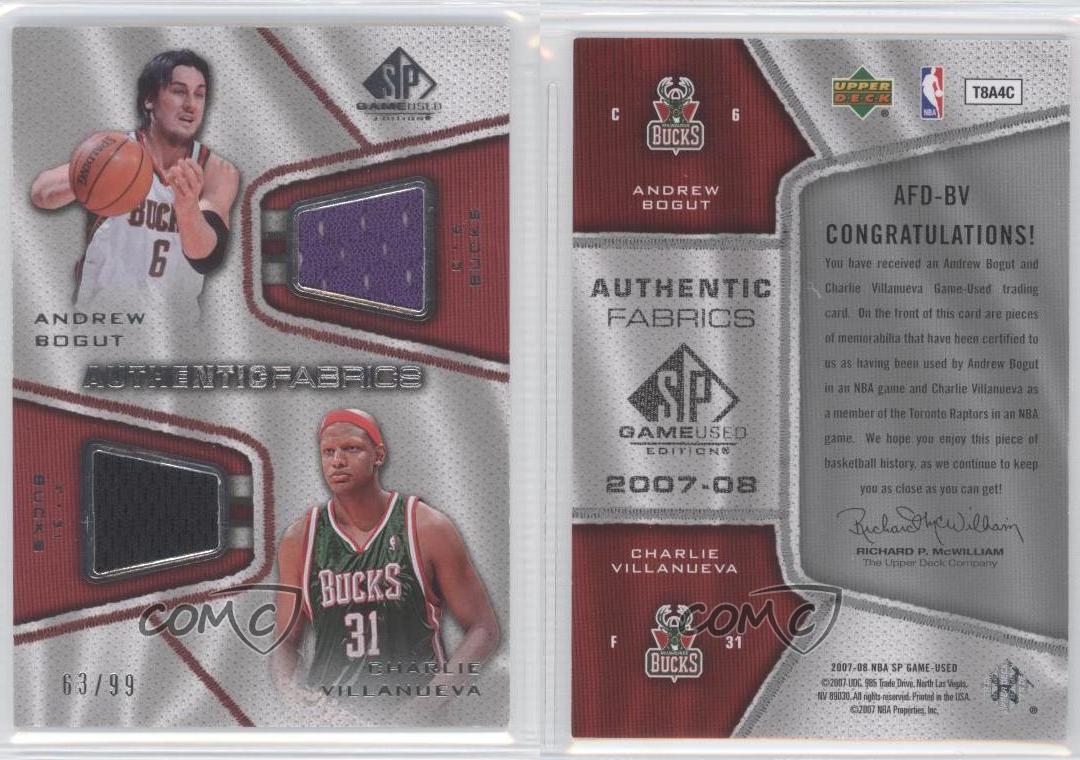2007-SP-Game-Used-Authentic-Fabrics-Dual-AFD-BV-Andrew-Bogut-Charlie-Villanueva