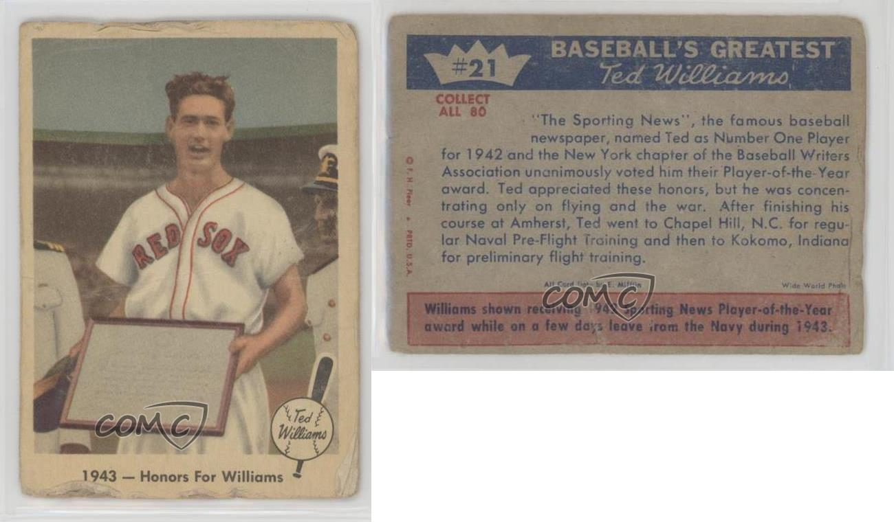 1959-Fleer-Ted-21-1943-Honors-For-Williams-Boston-Red-Sox-Baseball-Card