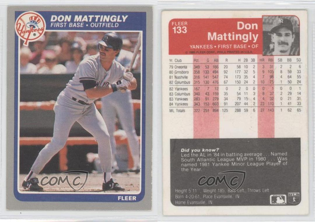 1985 Fleer 133 Don Mattingly New York Yankees Baseball