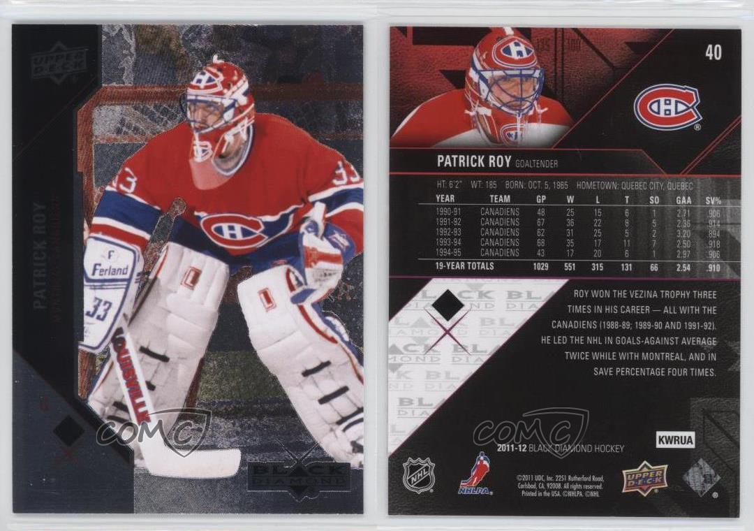 2011-12 Black Diamond Hockey Card #40 Patrick Roy Montreal Canadians Sports Card