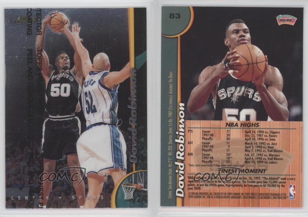 1998-99 Topps Finest  83 David Robinson San Antonio Spurs Basketball ... 903673e90