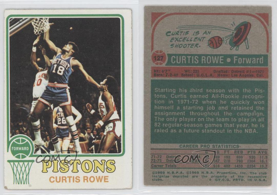 1973 74 Topps 127 Curtis Rowe Detroit Pistons Basketball Card