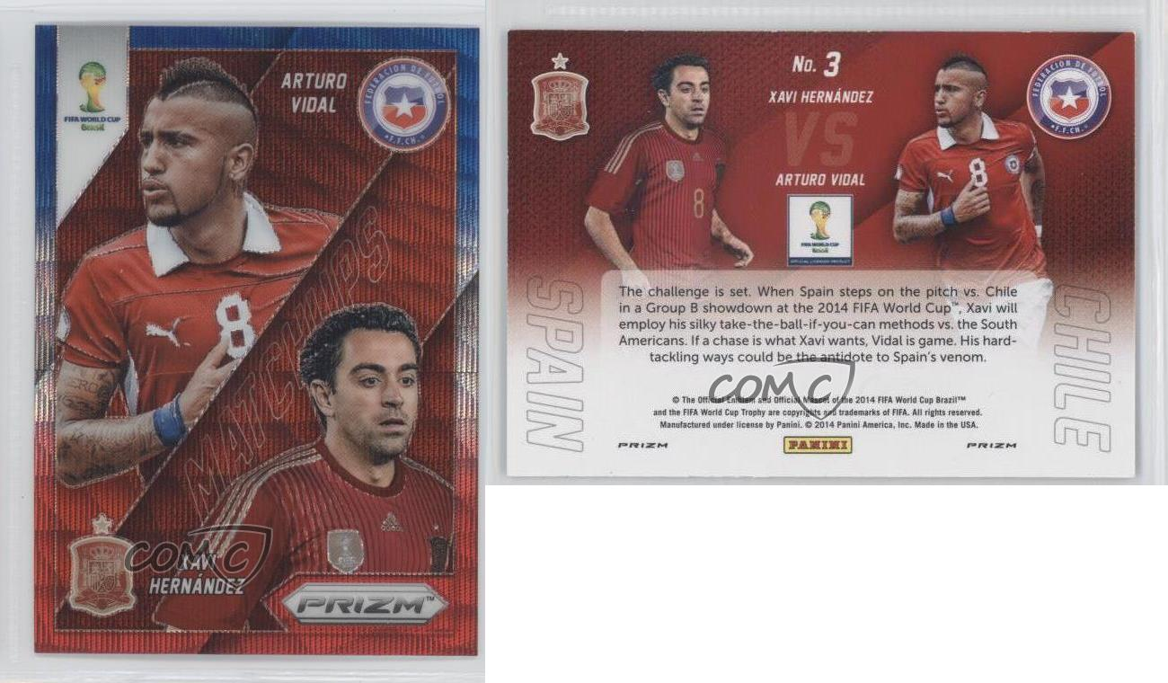 2014-Panini-Prizm-World-Cup-3-Xavi-Hernandez-Arturo-Vidal-Chile-Spain-Card