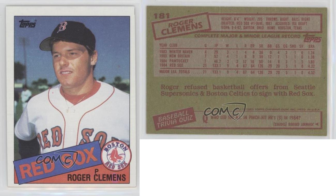 1985 Topps 181 Roger Clemens Psa 8 Nm Mt Boston Red Sox Rc
