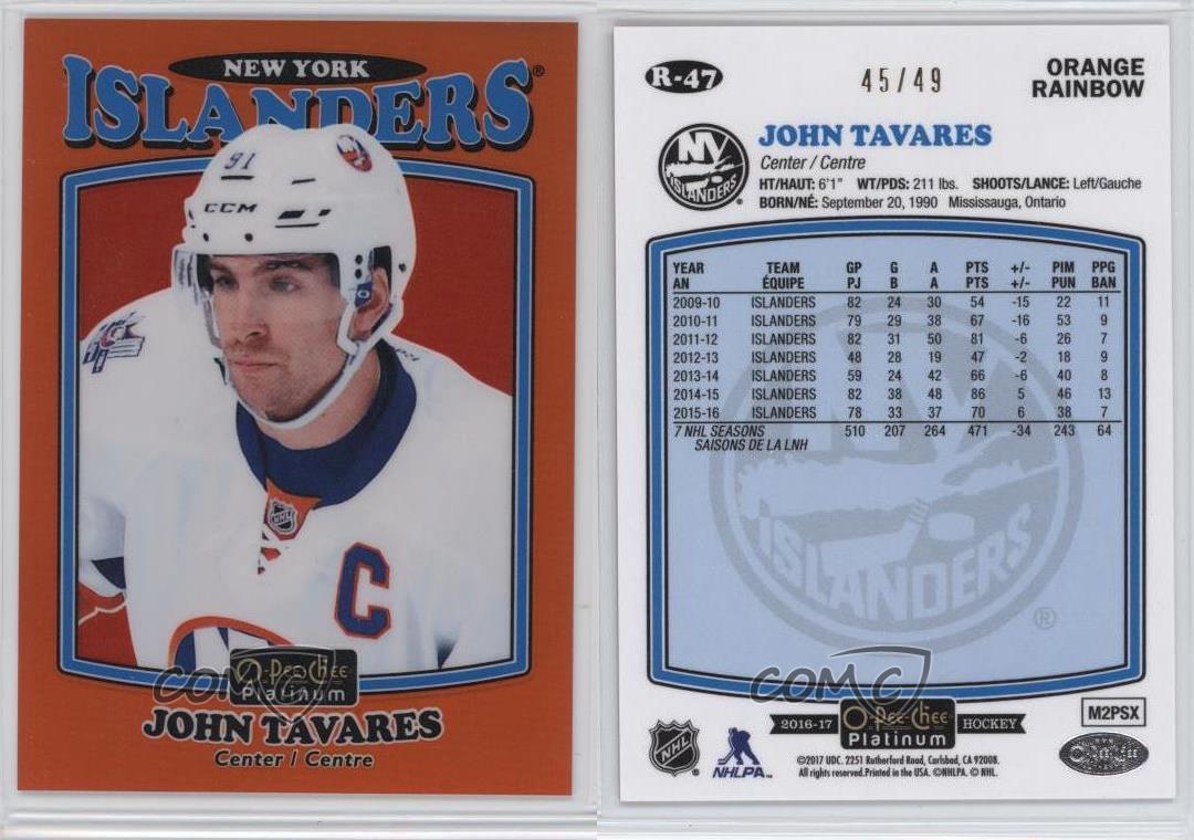 2016-17-O-Pee-Chee-Platinum-Retro-Orange-Rainbow-R-47-John-Tavares-Hockey-Card