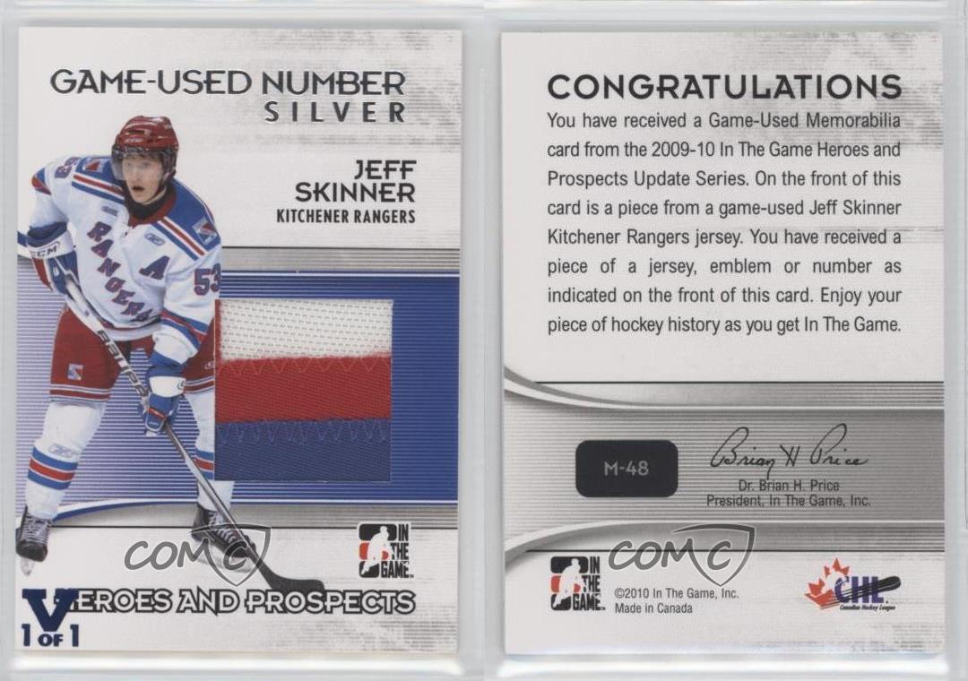 2009 In the Game Heroes and Prospects #M-48 Jeff Skinner Kitchener ...