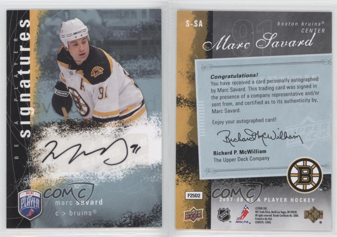 2007-08-Upper-Deck-Be-a-Player-Signatures-Autographed-S-SA-Marc-Savard-Auto-Card
