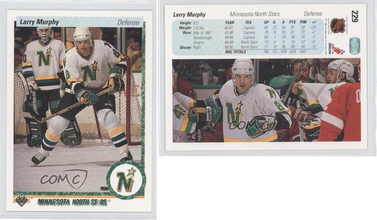 1990-91-Upper-Deck-229-Larry-Murphy-Minnesota-North-Stars-Hockey-Card