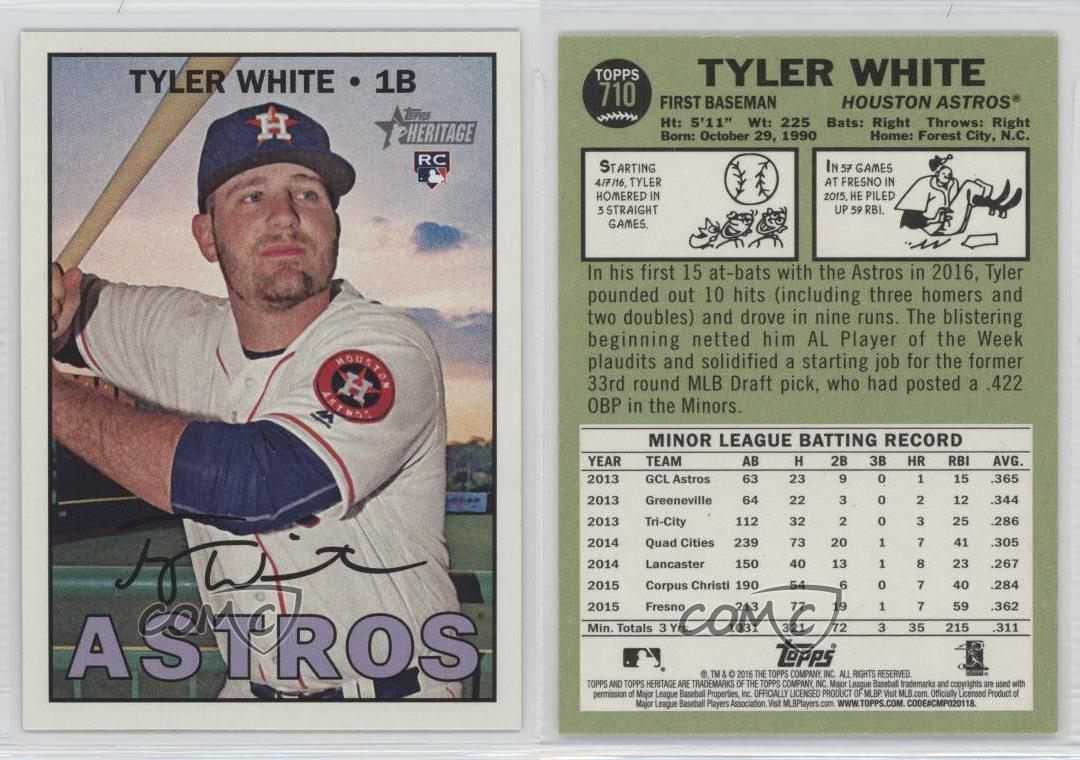 Details About 2016 Topps Heritage High Number 710 Tyler White Houston Astros Rc Rookie Card