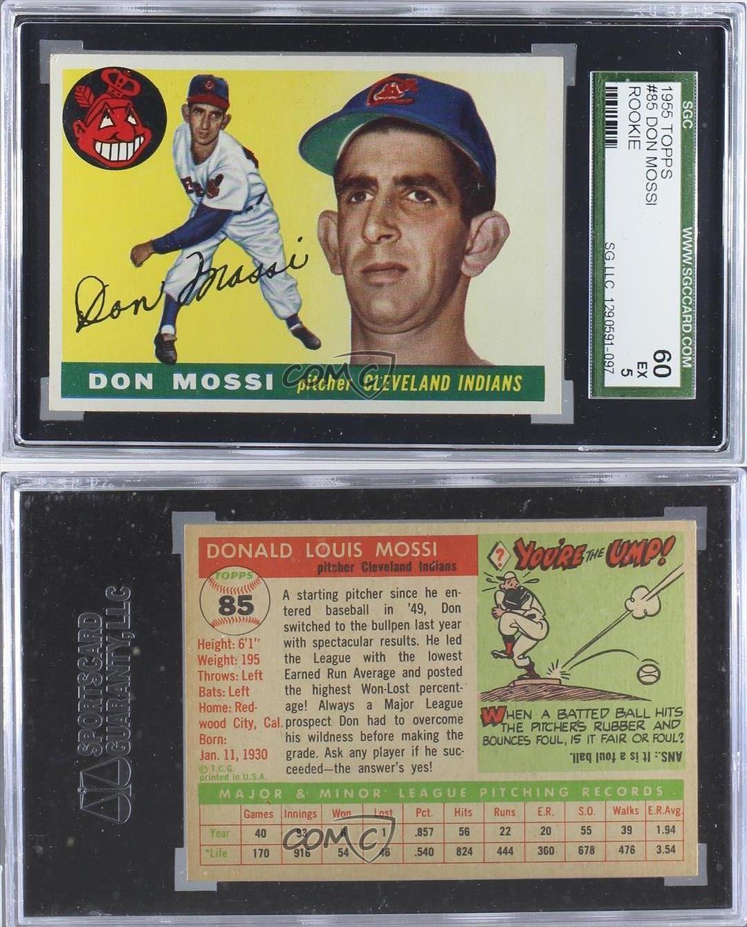 1955 Topps #85 Don Mossi SGC 60 Cleveland Indians RC