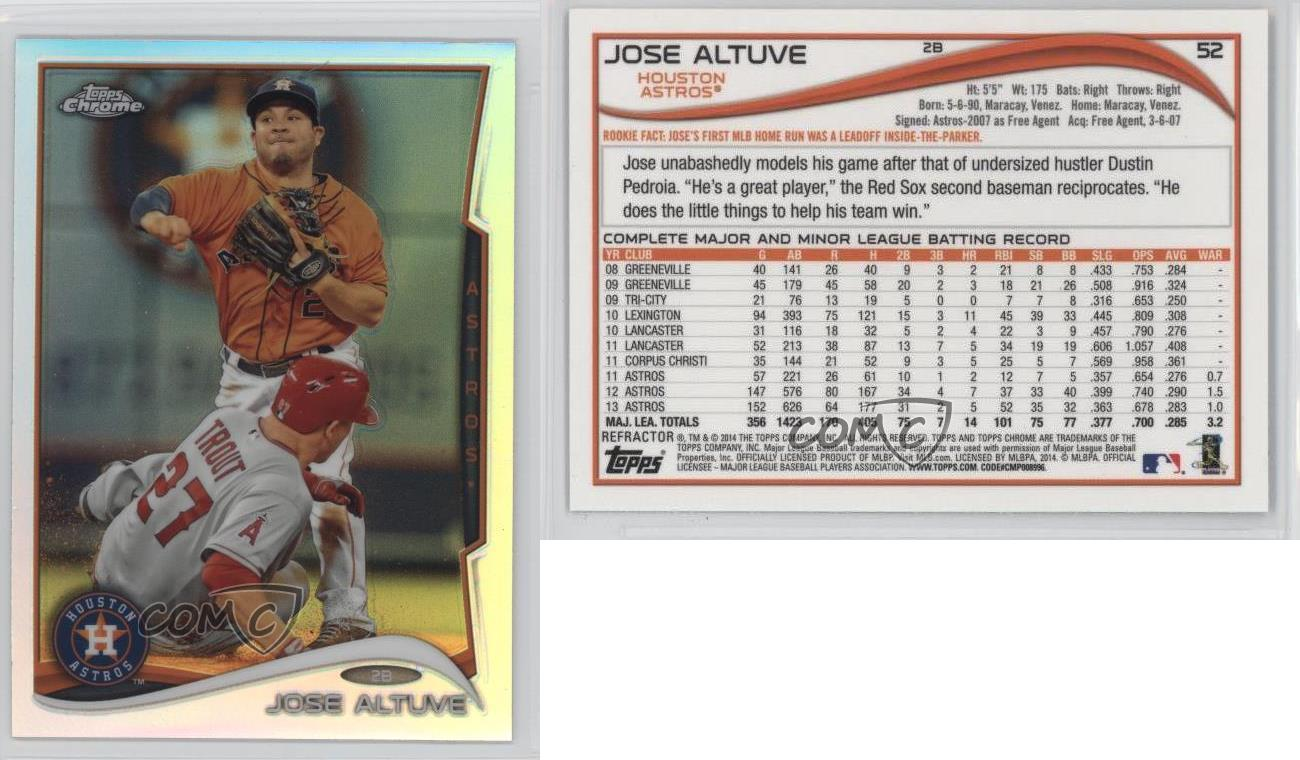 2014 topps chrome refractor 52 jose altuve houston astros for Table 52 cards 2014