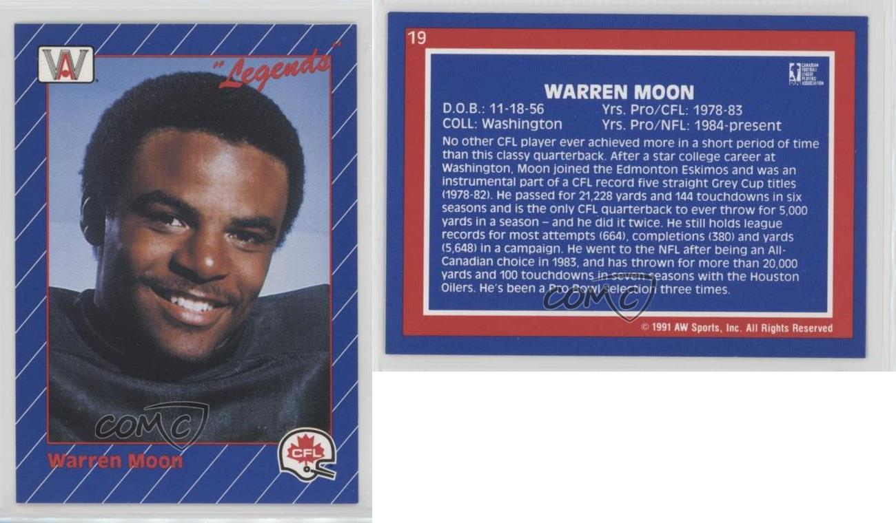 Warren Moon 1991 All World CFL # 19 NM//MT Football Card