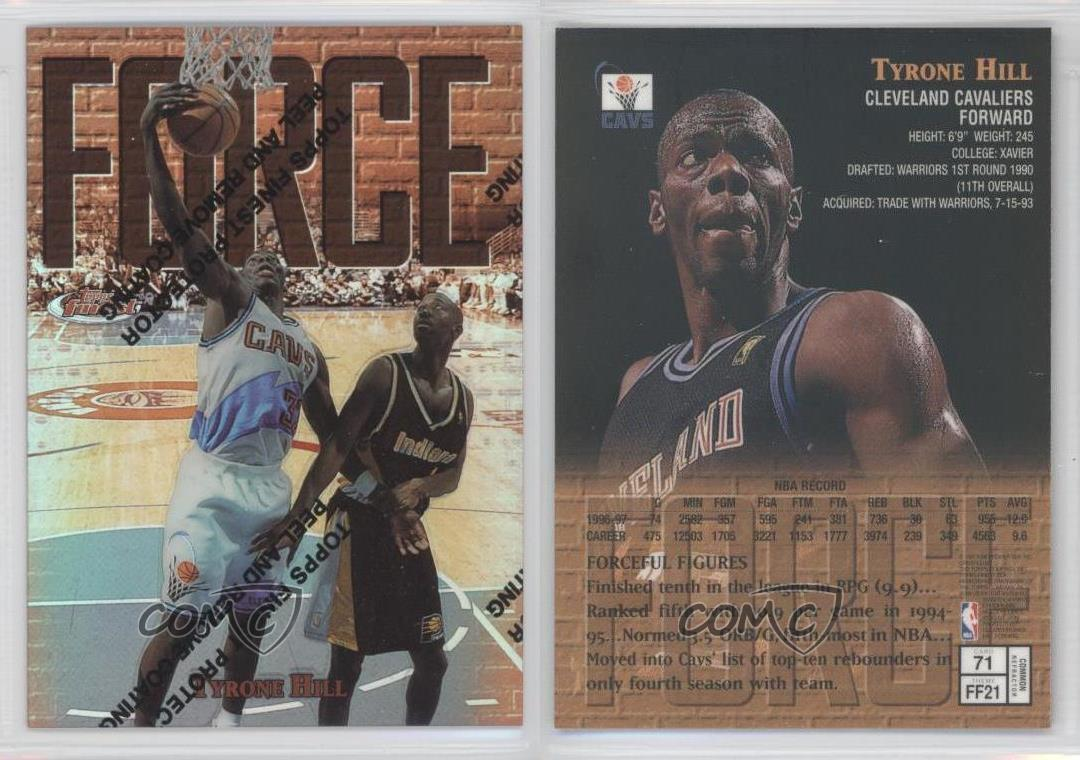 1997 Topps Finest Refractor 71 Tyrone Hill Cleveland Cavaliers