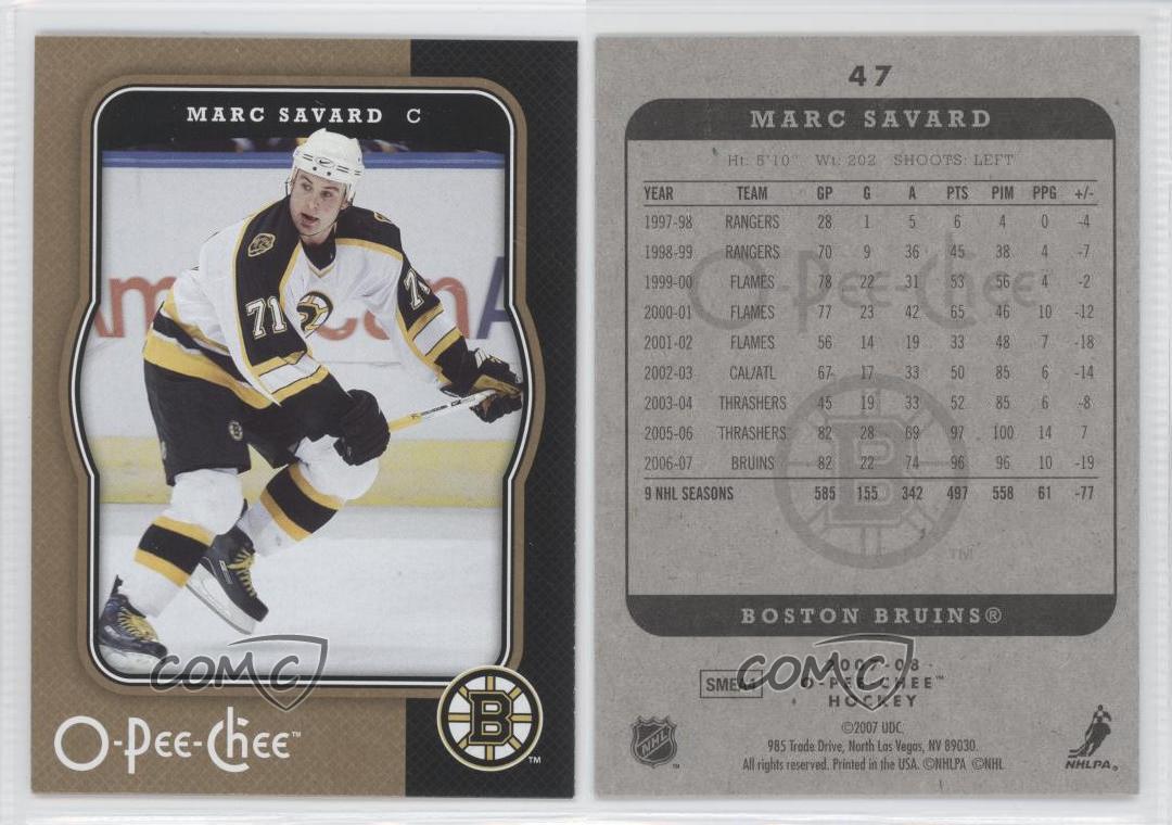 2007-08-O-Pee-Chee-47-Marc-Savard-Boston-Bruins-Hockey-Card