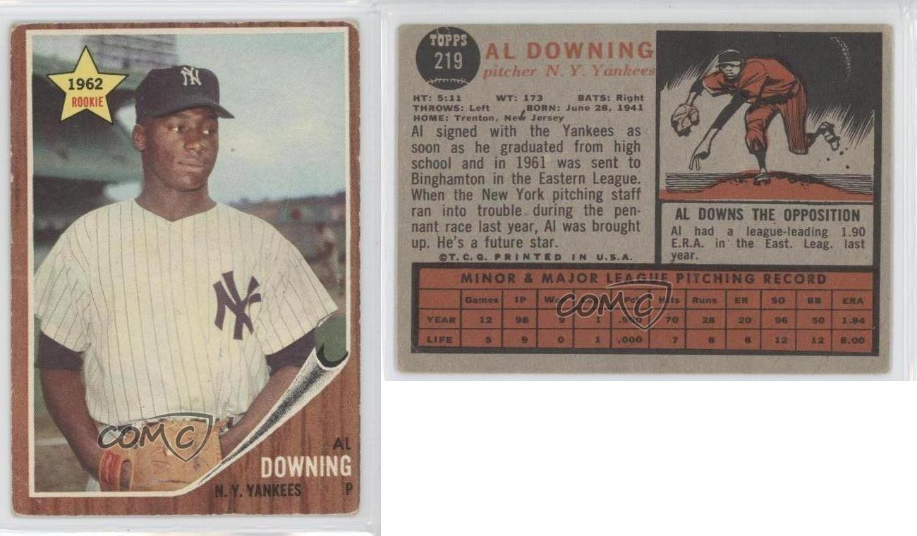1962 topps 219 al downing new york yankees rc rookie baseball 1962 topps 219 al downing new york yankees falaconquin