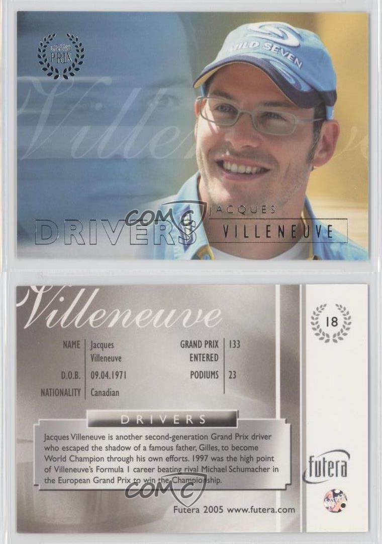 2005 Futera Grand Prix #18 Jacques Villeneuve Racing Card