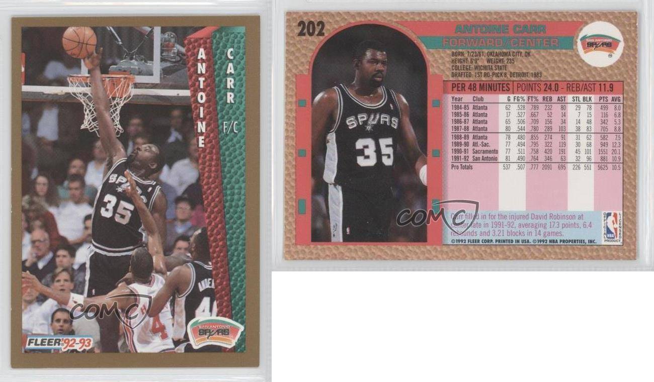 1992 93 Fleer 202 Antoine Carr San Antonio Spurs Basketball Card