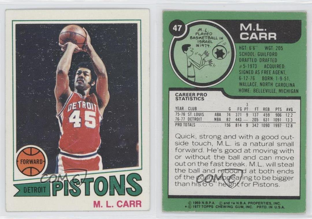 1977 Topps White Back 47 ML Carr Detroit Pistons M L RC Rookie